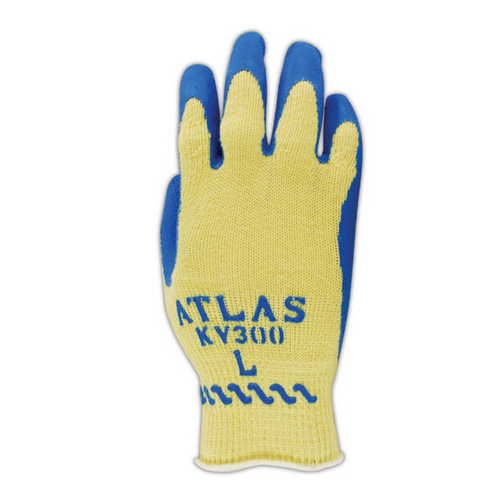 Showa Best KV300-M SHOWA Best Atlas KV300 Kevlar Glove with Latex Palm Coating, Blue , Medium (Pack of 12)