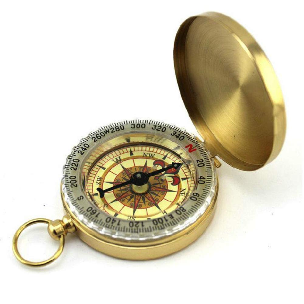 Aofocy Outdoor Camping Hiking Portable Brass Round Golden Compass Navigation Tool