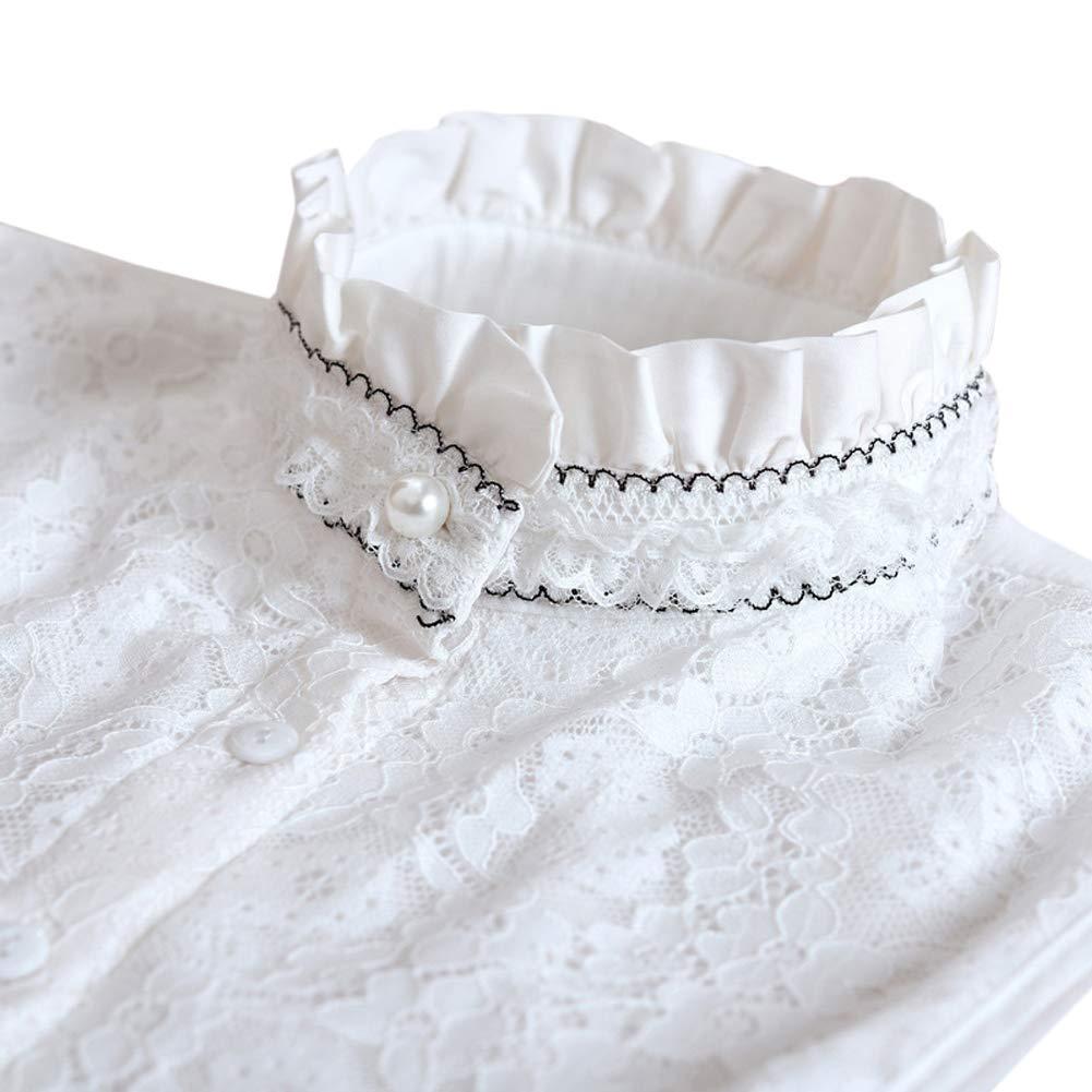 Fake Collar Lace Ruffles Cuff Cotton Choker Tie White Detachable Half Shirt Blouse Stand False Collar