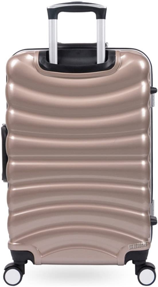 Wagsuyun Spinner Luggage Trolley Box Aluminum Frame Box Mute Caster Suitcase Male and Female Students Lockbox Scratch-Resistant Luggage 20 24 28Inch Luggage Set Color : Metallic