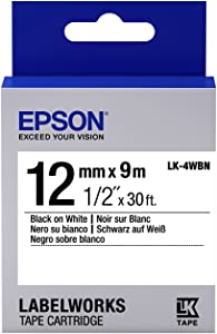 """Epson LabelWorks Standard LK (Replaces LC) Tape Cartridge ~1/2"""" Black on White (LK-4WBN) - for use with LabelWorks LW-300, LW-400, LW-600P and LW-700 Label Printers"""