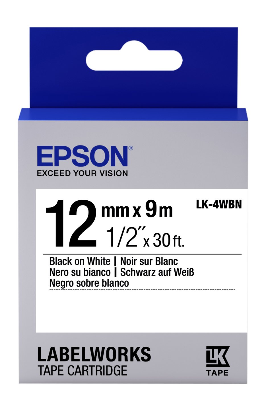 Epson LabelWorks Standard LK (Replaces LC) Tape Cartridge ~1/2'' Black on White (LK-4WBN) - For use with LabelWorks LW-300, LW-400, LW-600P and LW-700 label printers
