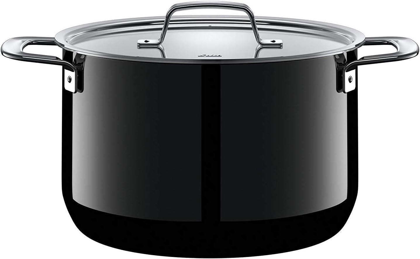 Silit Zeno Black-Olla Alta con Tapa de Metal (24 cm de diámetro, cerámica, inducción, Apta para lavavajillas, 6,4 L), Color Negro, Esmalte
