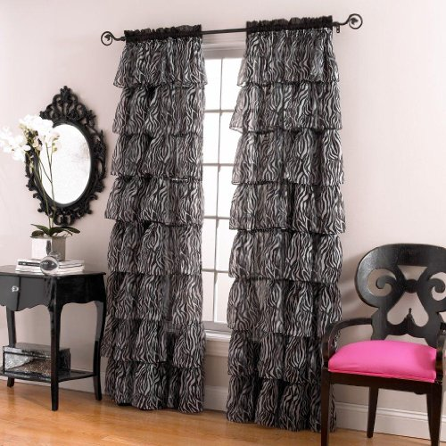 Lorraine Home Fashions Gypsy Zebra Ruffle Window Panel,  60 by 84-Inch, White/Black ()