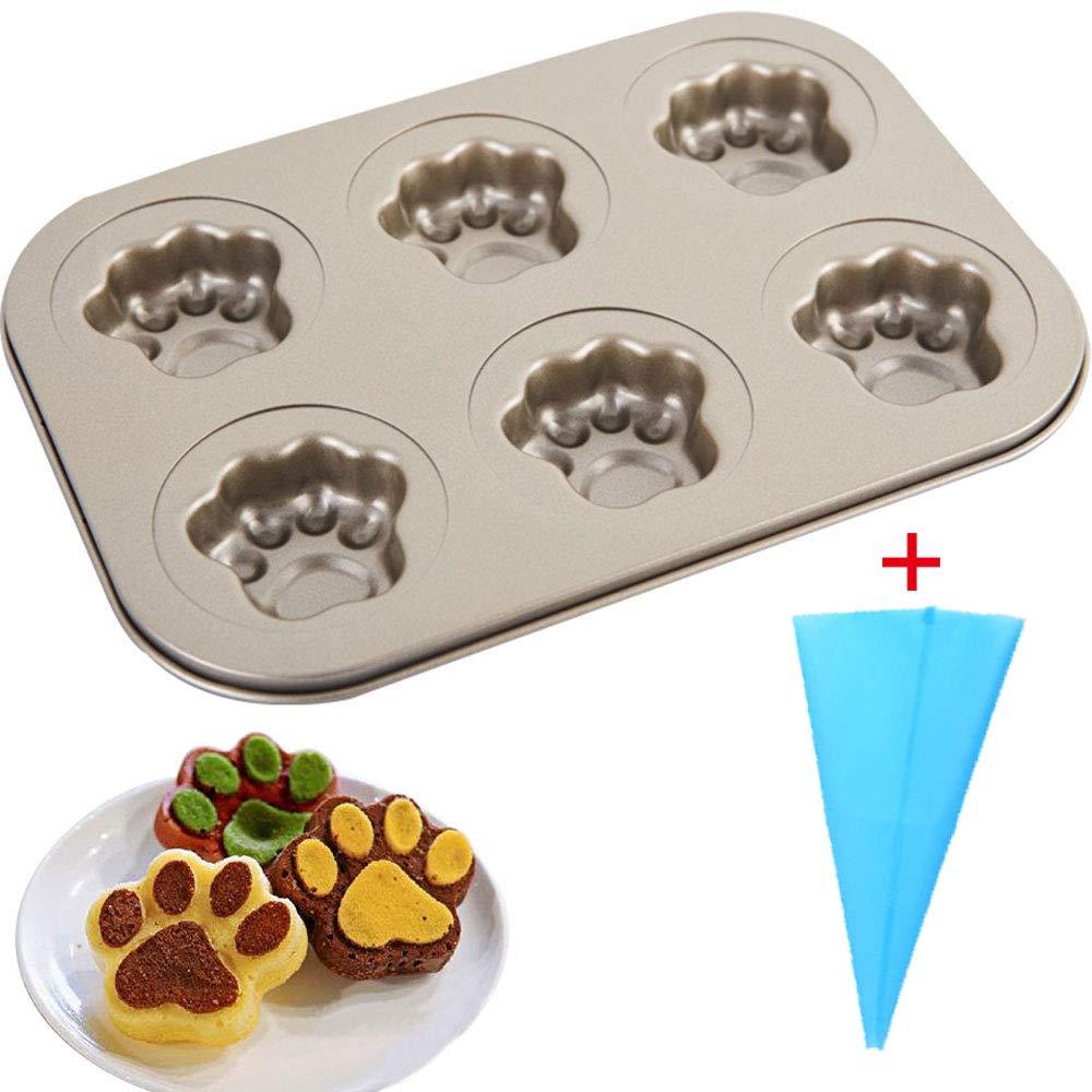 Carbon Steel Cannele Pan Nonstick Baking Molds Easy Clean Baking Pan for Muffin Cookies Donut Cupcake, with Reusable Silicone Pastry Bag,Christmas, 6- Cavity (Claw-1)