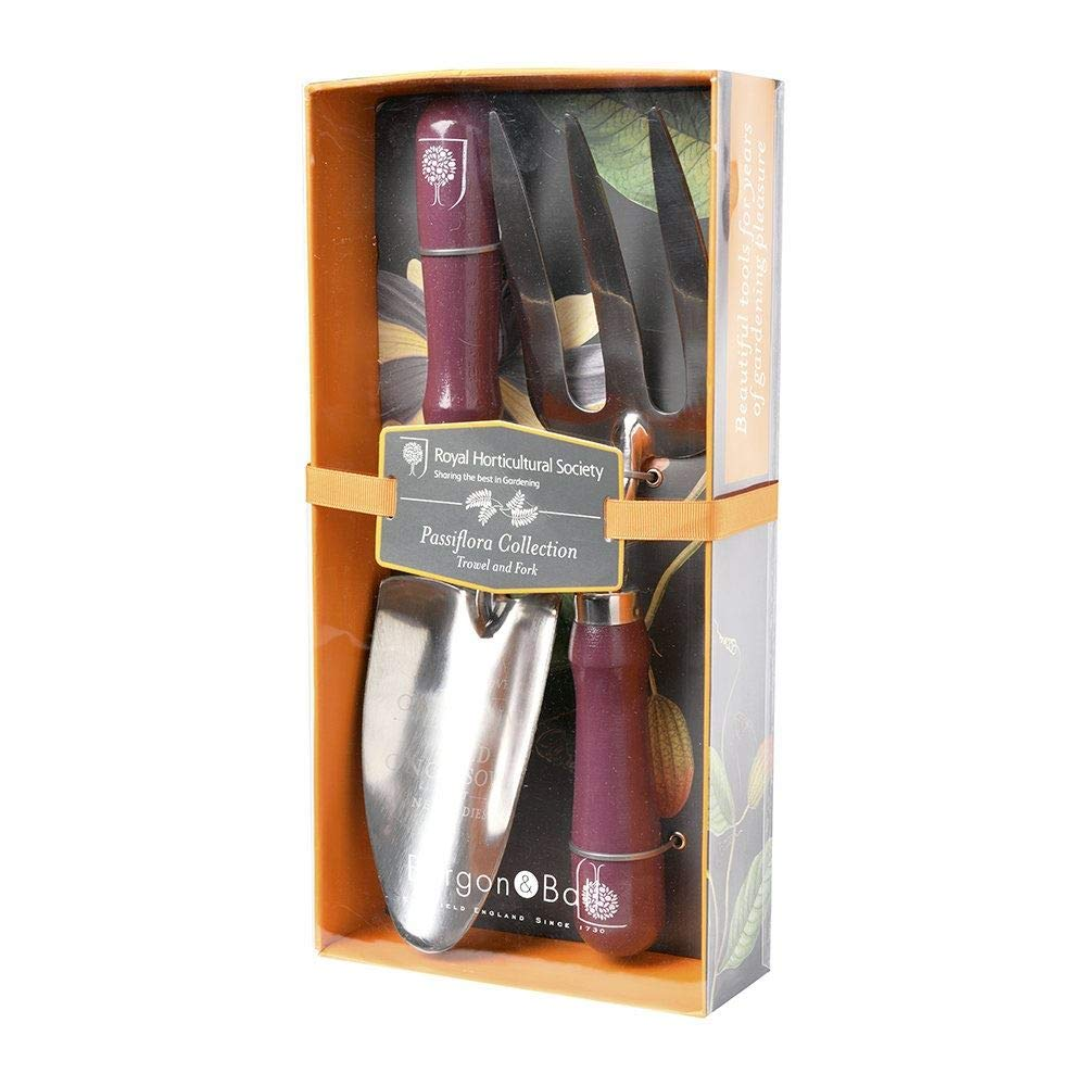 RHS Gifts from Burgon & Ball Passiflora Design Outdoor Trowel and Fork Set by Burgon and Ball