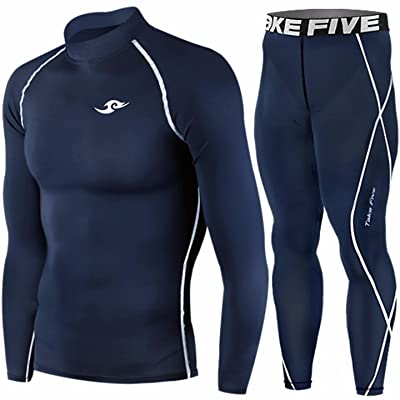 Skin Tight Compression Base Layer Long Sleeve Under Shirt & Pants Navy SET