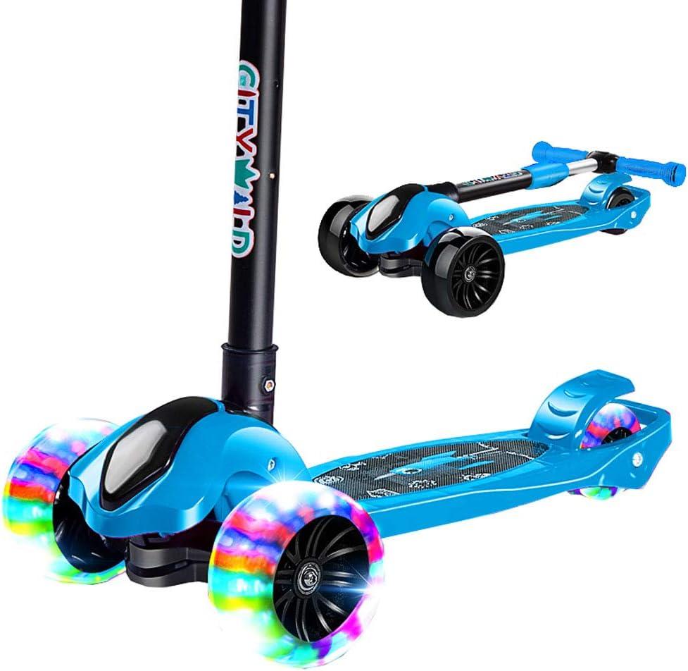 幼児のための3輪スクーター、折りたたみ式デラックスキックスクーター、点滅する車輪で操縦するのに傾いている、頑丈なワイドデッキ付きの安全ブレーキと調節可能な高さ 青