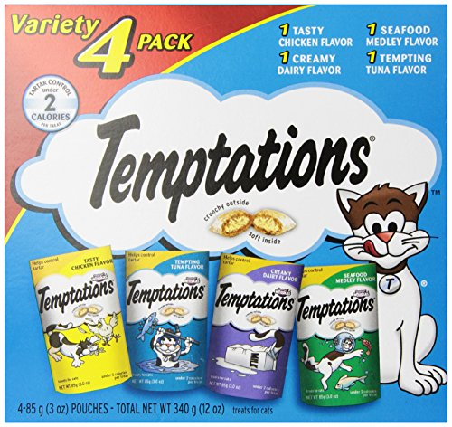 TEMPTATIONS Classic Treats for Cats Feline Favorites 3 Ounces 4-Pouch Variety Pack