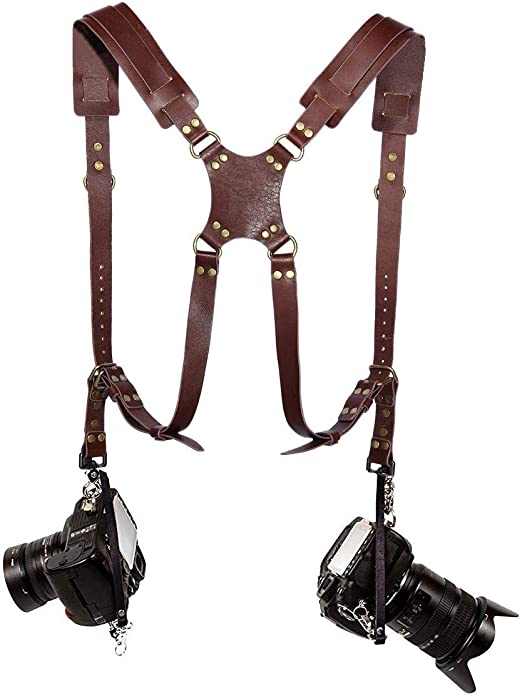 YicUik Adjustable Dual Camera Handmade Retro Leather Strap for DSLR//SLR Universal Harness Women//Men Camera Shoulder Strap for Two Cameras Dark Brown