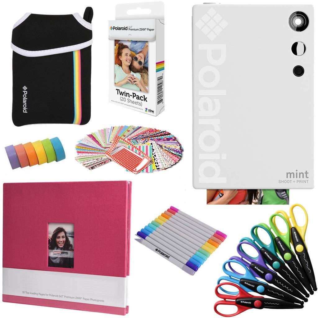 Polaroid Mint Instant Digital Camera (White) Art Bundle + Paper (20 Sheets) + 8x8 Cloth Scrapbook + Pouch + 12 Twin Tip Markers + 100 Border Stickers + 6 Decorative Scissors + Washi Tape