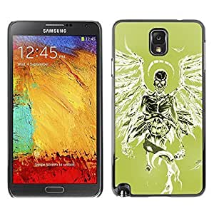 Colorful Printed Hard Protective Back Case Cover Shell Skin for SAMSUNG Galaxy Note 3 III / N9000 / N9005 ( Green Death Angel Green Wings Skull ) Kimberly Kurzendoerfer