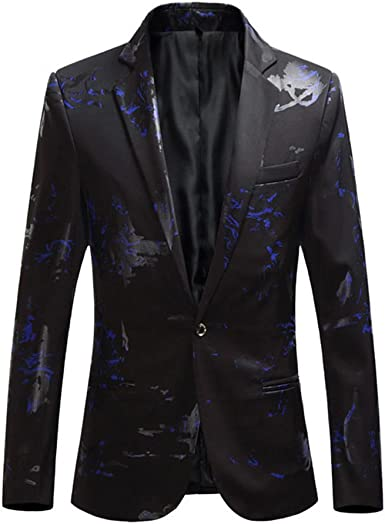 Tymhgt Mens Nightclub Party Slim Fit Fashion Print One-Button Suit Blazer Jackets