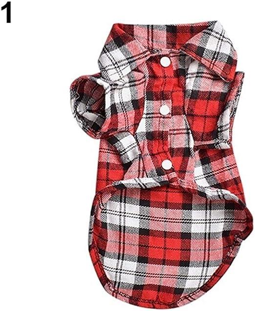 nobrand TEYUN Linda del Animal doméstico del Perro de Perrito Camisa de Cuadros Escudo Camiseta Top de la Ropa Tamaño XS S M L (Color : Red, Size : M): Amazon.es: Productos para mascotas