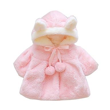 338d24e9089b5 FEVON コート ベビー 女の子 ポンチョ 子供服 可愛い フード付き うさぎの耳 柔らかい 暖かい アウター