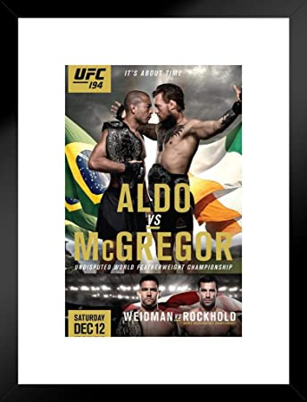Pyramid America Official UFC 194 Jose Aldo vs. Conor McGregor Fight Matted Framed Poster 20×26 inch