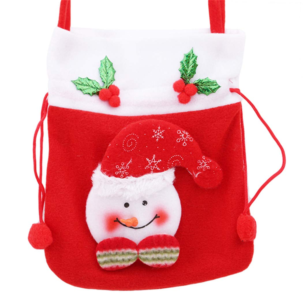 LIUCM Cute Candy Bag Self-Adhesive Christmas Pattern Snowman Cookies Bag Handbag Gift Bag Decor 1#