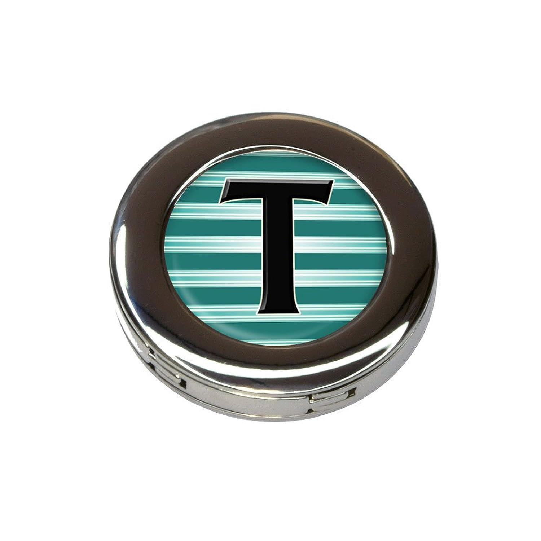 Letter T Initial Black Teal Stripes Foldable Purse Handbag Hook Hanger Holder