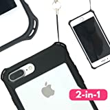 NEW iPhone X Premium Lanyard Case | Unique Loop Hole Attachments for Included Neck Strap, Wrist Tether, Purse etc. | Best Travel Gift | Ultra Slim Rugged TPU Bumper | Black / Transparent Clear