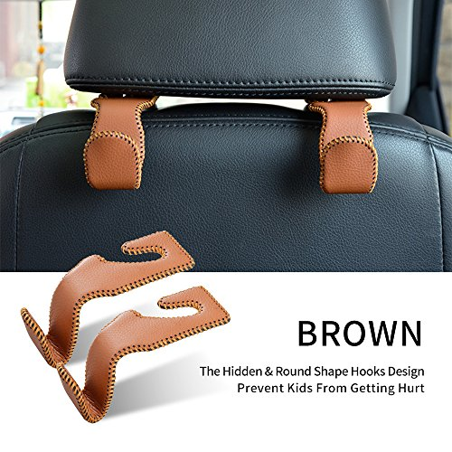 Universal Car Vehicle Seat Back Headrest Hanger Holder Hooks with Leather & Aluminum Alloy for Bag Purse Cloth Drink Grocery Brown