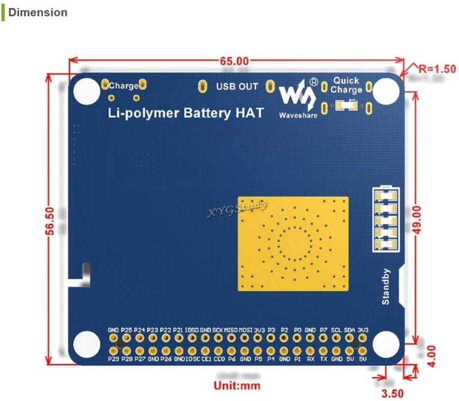 A @XYGStudy Li-Polymer Battery HAT SW6106 Power Bank Solution Li-Polymer Battery HAT with Embedded Protection Circuits for Raspberry Pi 2 3 4 B B