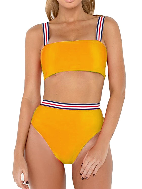 Bikinx Women's Wide Straps Padded Bandeau Bikini Set High Waisted Bathing Suits