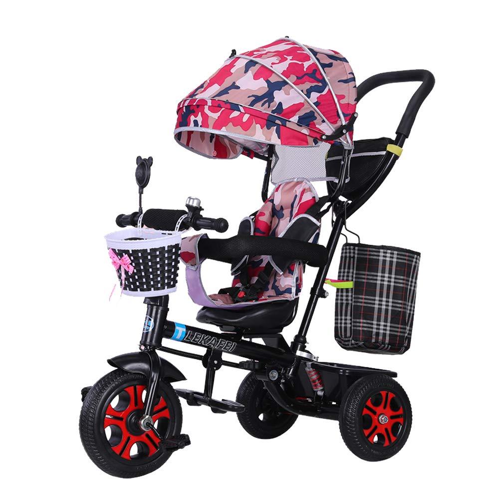 HYRL Triciclo Multifunzione per Bambini, Carrello per Bambini Pieghevole Carrello per Neonati Carrello per Bambini con Parasole Pedal Bike per Bambini,A
