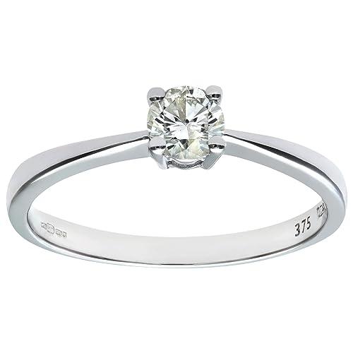 Naava Anillo de Oro Blanco 9K con Diamante 0.33 talla 14