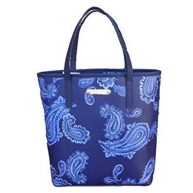 8f210a0650 Michael Kors Emry Admiral Blue Paisley Printed Saffiano Leather Medium Size  Tote Shoulder Bag Handbag
