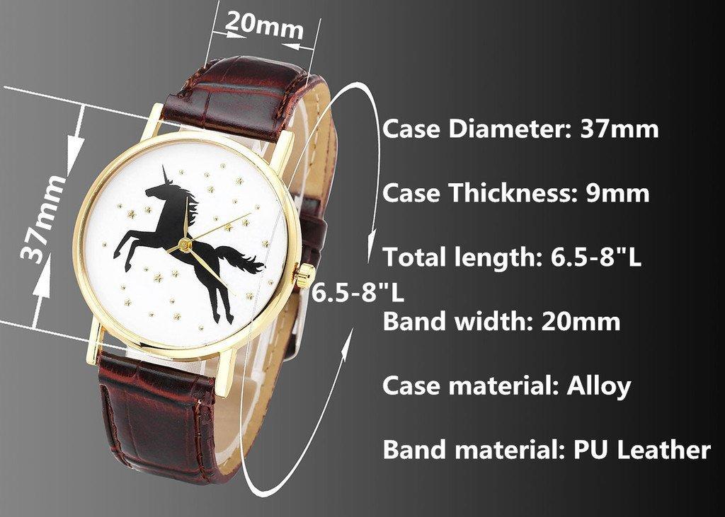 Top Plaza Fun Animal Searies Galloping Horse Fashion Womens Ladies Quartz Wrist Watch, Black