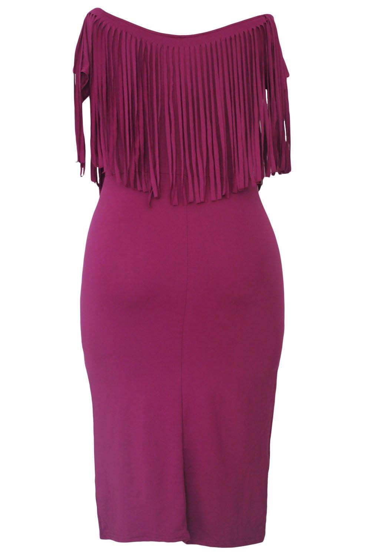 Nueva mujer talla grande color rosa oscuro Fringed Blisterland ...