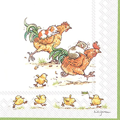 Celebrate the Home Silly 3-Ply Paper Cocktail Napkins, Run Rooster Run, 20-Count