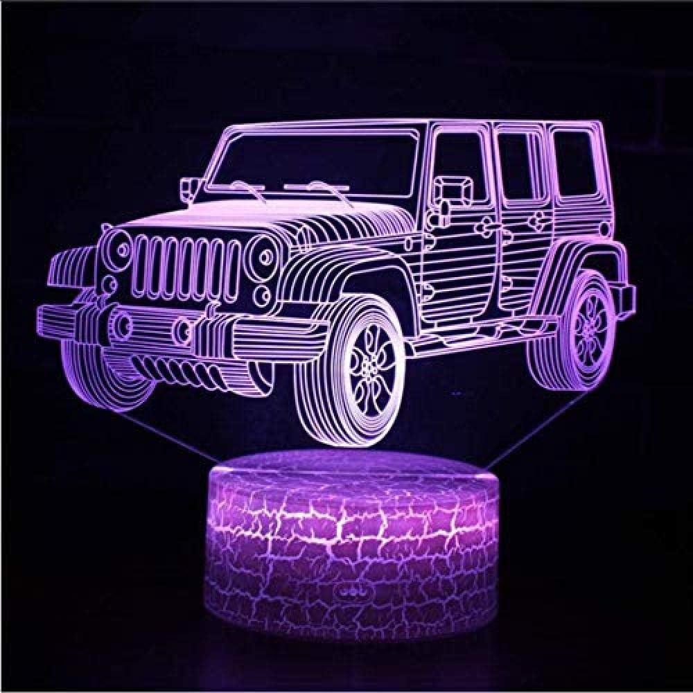 Luz decorativa Control remoto del vehículo todoterreno Luz nocturna 3D Luz LED 3D colorida Base blanca linda Conversión de 7 colores Luz 3D