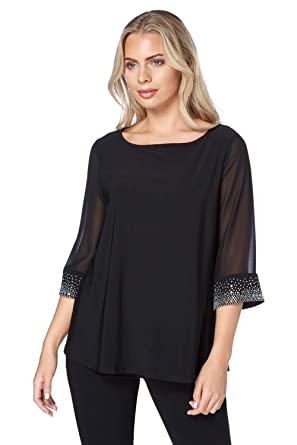5cfe5854072ef Roman Originals Women s Black Embellished Cuff Top Sizes 10-20 - Black - Size  20