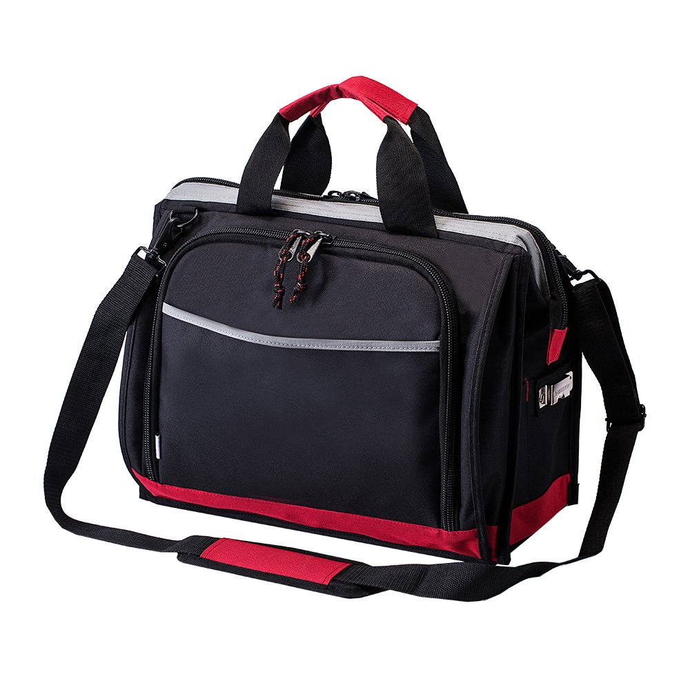 16-inch Tool Bag, 25 Pockets Wide Mouth Storage Tools Bag, Heavy Duty Contractor's Bag with Adjustable Shoulder Strap, Great for Electrician, Engineers, Plumber, Mechanic, and Cable Repairman