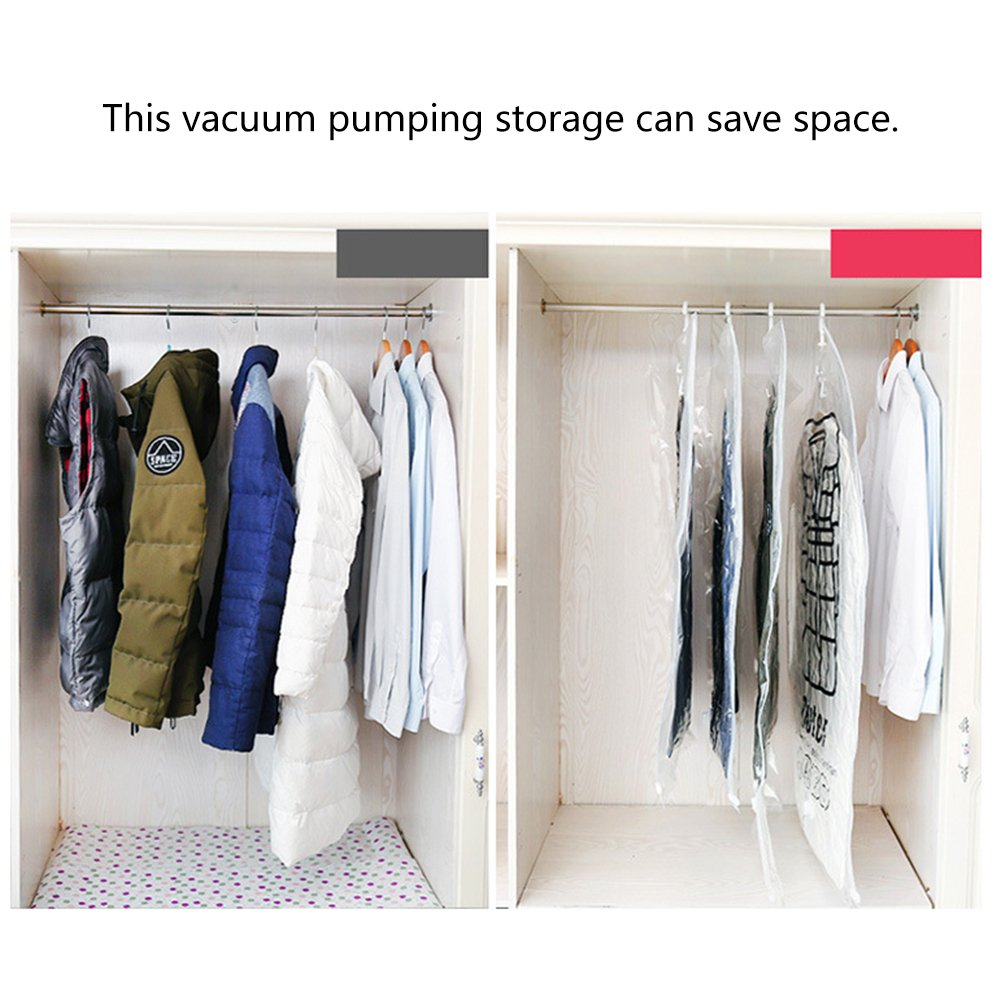 Hand Pump for Vacuum Clothes Storage Bags Side Pull Hanging Type Vacuum Compression Bag Hanger Hanging Clothes Storage Bag Clothing Dustproof Color Random