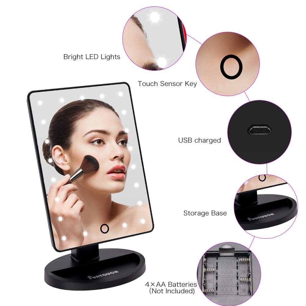 Vanity Lighted Makeup Mirror with 21 Led Lights Dual Power Supply, Cosmetic Desk Table Makeup Mirror with Detachable 10X Magnification, Touch Screen Light Adjustable Dimmable 180 Rotation Black