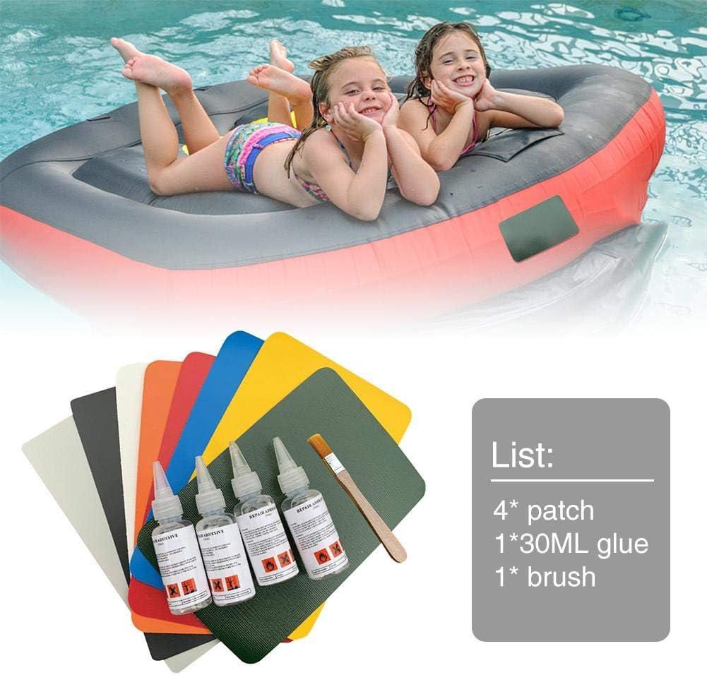 Kit De Reparaci/ón De Parches De Cuero PVC 4PCS con Pegamento Y Cepillo Rich-home Parches De Reparaci/ón De Botes Inflables para Kayak Bote Inflable Balsa
