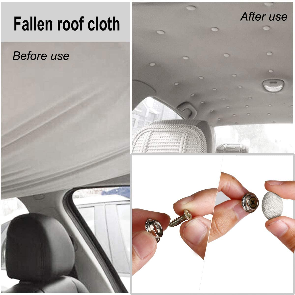 Car Proof Repair Rivets Headliner Repair Button 60 pcs Auto Roof Snap Rivets Retainer Design for Interior Ceiling Cloth Fixing Screw Cap Roof Repair Buckle for All Cars