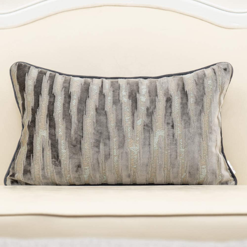 Alerfa 12 x 20 Inch Gray Silver Striped Embroidery Cut Velvet Cushion Case Luxury Modern Throw Pillow Cover Decorative Pillow for Couch Sofa Living Room Bedroom Car