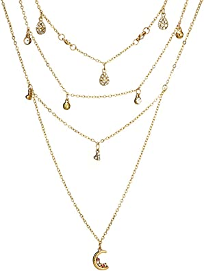 collier multirang femme or