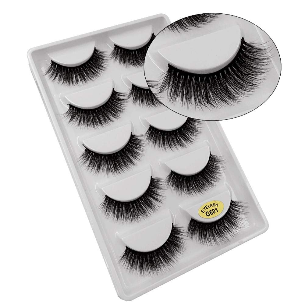 5 Pairs 3d Mink False Eyelashes Handmade Long Slender Fake Eyelashes False Eyewinker Parties Cosmetic Makeup Tool Kit Pure White And Translucent False Eyelashes Beauty Essentials