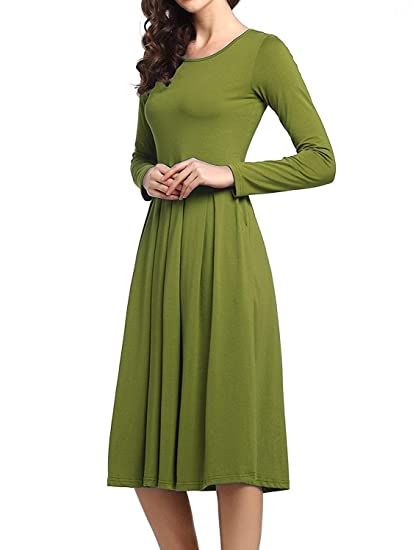 Beluring Womens Girls Long Sleeve Pleated Dress with pockets Army Green  Small 93692ea0eb