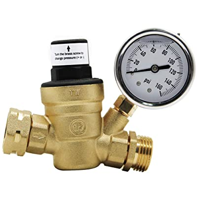Twinkle Star RV Water Pressure Regulator Valve with Gauge and Inlet Screened Filter for Camper Travel Trailer: Home Improvement