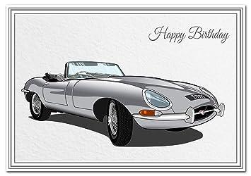 Car Birthday Card Unique E Type Jag Jaguar Premium Quality