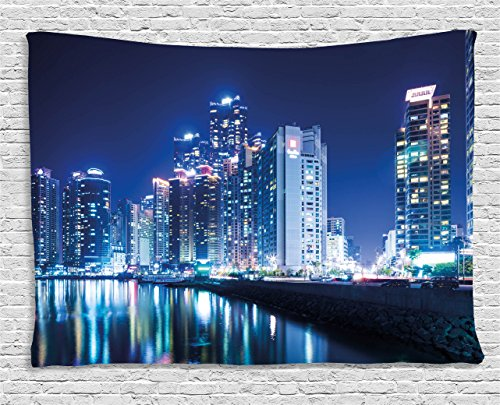 Ambesonne Urban Tapestry by, Busan City Skyline Night Korean Landscape Buildings Skyscrapers View Modern Life, Wall Hanging for Bedroom Living Room Dorm, 60WX40L Inches, Navy Blue (Korean Wall Hanging)