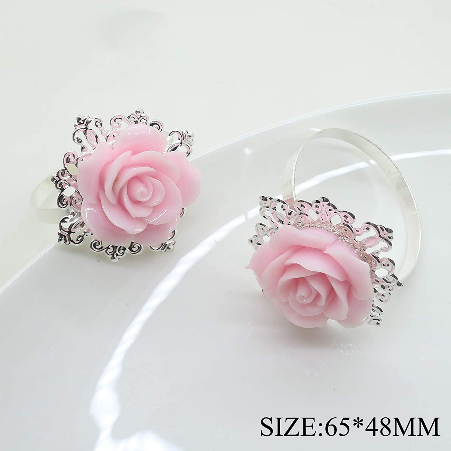 10pcs Pink Rose Decorative Silver Napkin Ring Serviette Holder for Wedding Party Dinner Table Decor Many Color Available For Christmas Table Yomoo