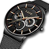 Watches for Men,LIGE Stainless Steel Waterproof Sports Analog Quartz Watch Date Display Black Dial Gents Business Casual Luxury Dress Wrist Watch Clock with Milanese Mesh Band Gold Black