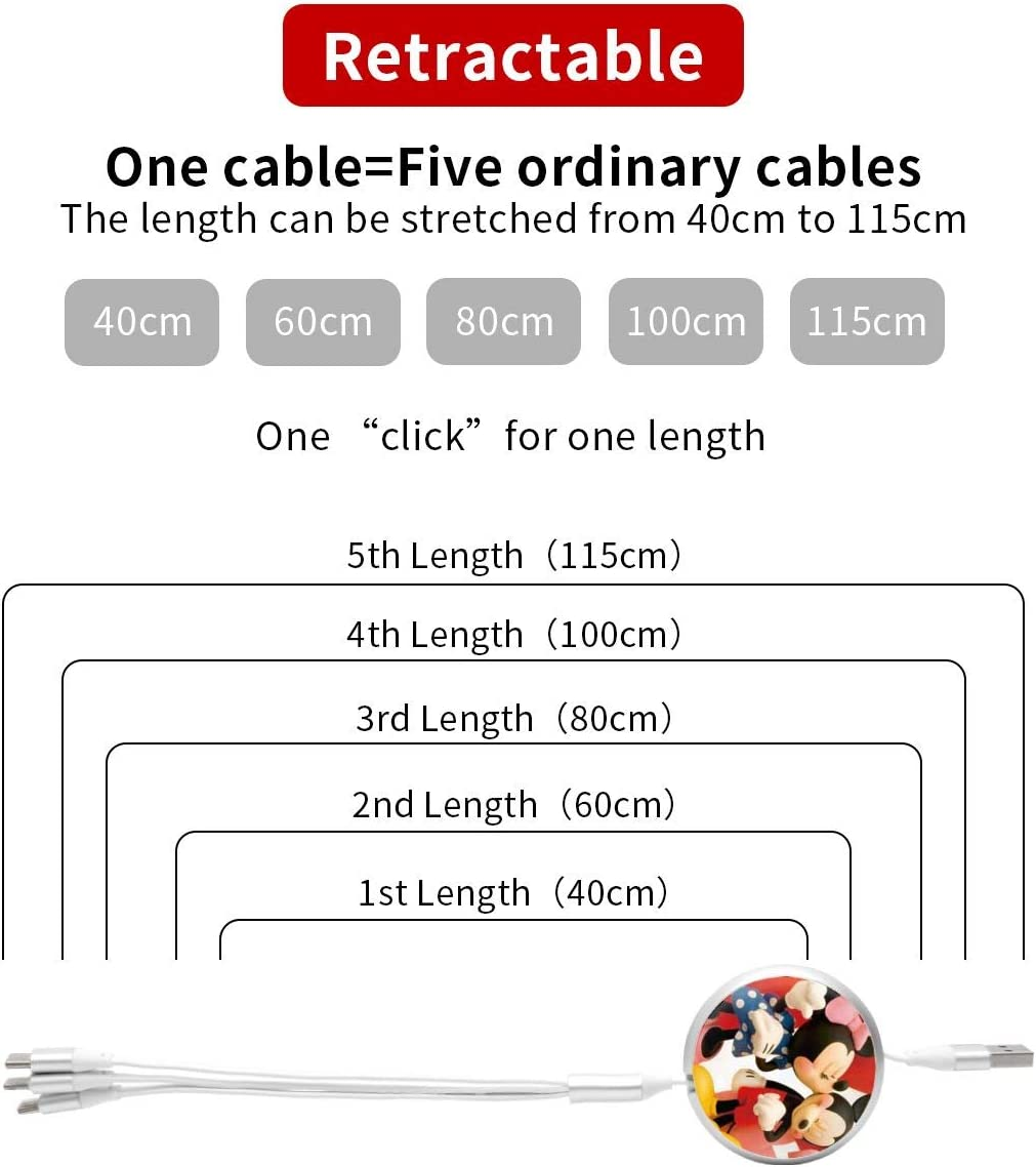 Mickey Mouse Minnie USB Round Three-in-One Material Data ABS Cables Multi USB Charger CableRetractable Multiple Fasts Chargings Data line Protective Case