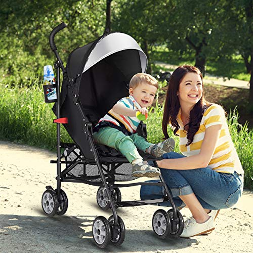 BABY JOY Lightweight Stroller, Aluminum Baby Umbrella Convenience Stroller, Travel Foldable Design with Oxford Canopy 5-Point Harness Cup Holder Storage Basket, Black